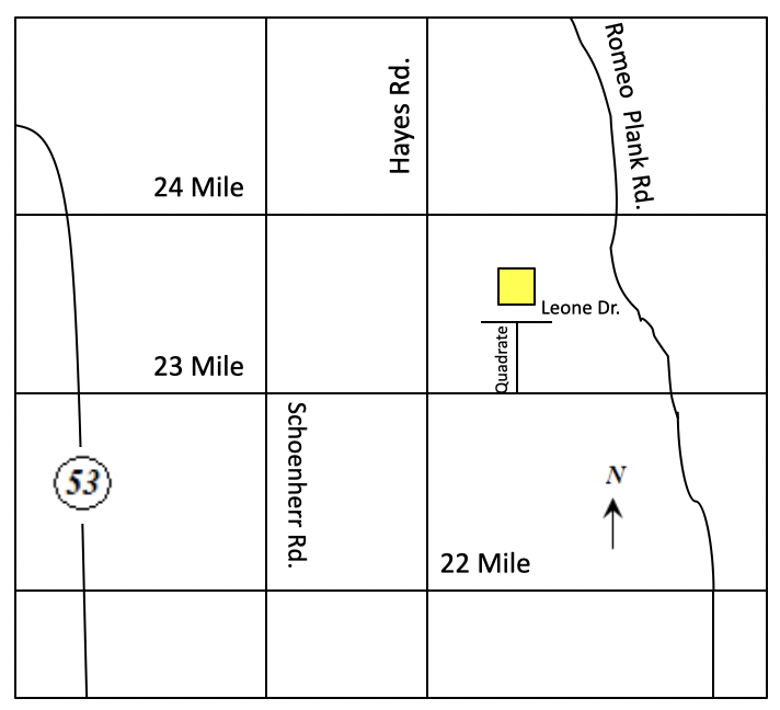 16033 Leone Drive, Macomb Township, Michigan Map
